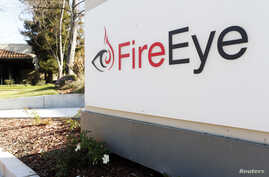 Security firm FireEye's logo is seen outside the company's offices in Milpitas, California.