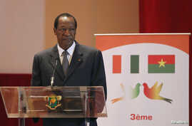 FILE - President of Burkina Faso Blaise Compaore has left power, a colonel in the presidential guard announced, Oct. 31, 2014.