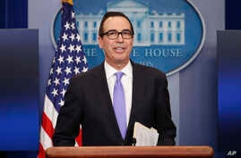 Treasury Secretary Steven Mnuchin speaks to the media during the daily briefing in the Brady Press Briefing Room of the White House in Washington, Feb. 14, 2017.