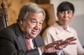 UN Secretary General Antonio Guterres attends the annual Oslo Forum, a meeting place for leaders from all over the world, hosted by Norwegian Minister of Foreign Affairs Ine Eriksen Soereide (Background, R) in Losby, Norway, 19 June, 2018.