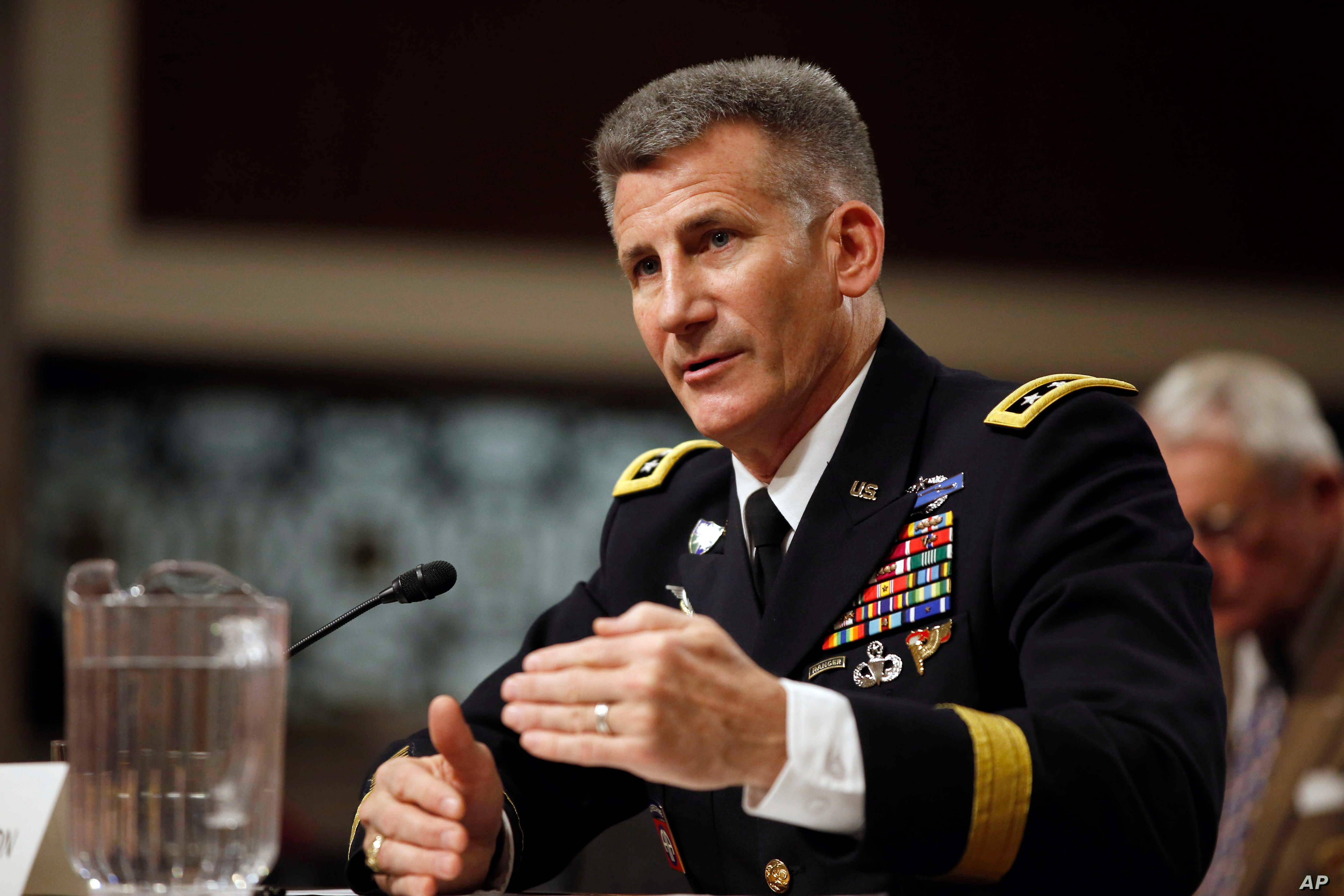 Army Lt. Gen. John Nicholson Jr., testifies before the Senate Armed Services Committee hearing considering his promotion to General, Commander, Resolute Support, Jan. 28, 2016..