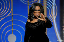 Oprah Winfrey speaks after accepting the Cecil B. Demille Award at the 75th Golden Globe Awards in Beverly Hills, California, Jan. 7, 2018.