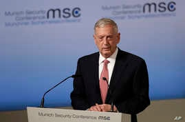U.S. Defense Minister Jim Mattis speaks during the Munich Security Conference in Munich, Germany, Friday, Feb. 17, 2017.