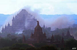 The ancient Sulamuni temple is seen shrouded in dust as a 6.8 magnitude earthquake hit Bagan, Myanmar, Aug. 24, 2016.