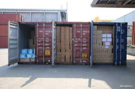 Medicine supplies stacked in containers are seen after shipments to North Korea were delayed at a port in Pyeongtaek, South Korea, Feb. 25, 2016, in this photo released by the Eugene Bell Foundation.
