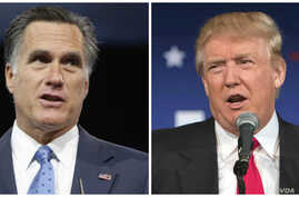 From left, former Republican presidential nominee Mitt Romney and Republican presidential candidate Donald Trump.