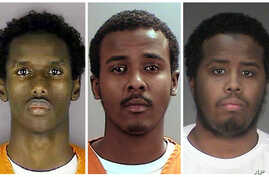 A combination picture shows, left to right, defendants Guled Ali Omar, Abdirahman Daud and Mohamed Farah. Of the nine men found guilty, Omar received the longest sentence, 35 years, with Daud and Farah getting 30 years each. The remaining six men rec