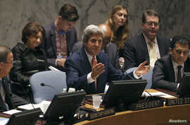 US Secretary of State John Kerry addresses the United Nations Security Council at UN Headquarters in New York, July 25, 2013.
