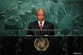 FILE - Prime Minister Pakalitha Mosisili of Lesotho addresses the United Nations General Assembly in the Manhattan borough of New York, U.S., Sept. 23, 2016.