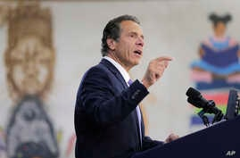New York Governor Andrew Cuomo speaks at an event in the Brownsville section of Brooklyn in New York, July 5, 2018.