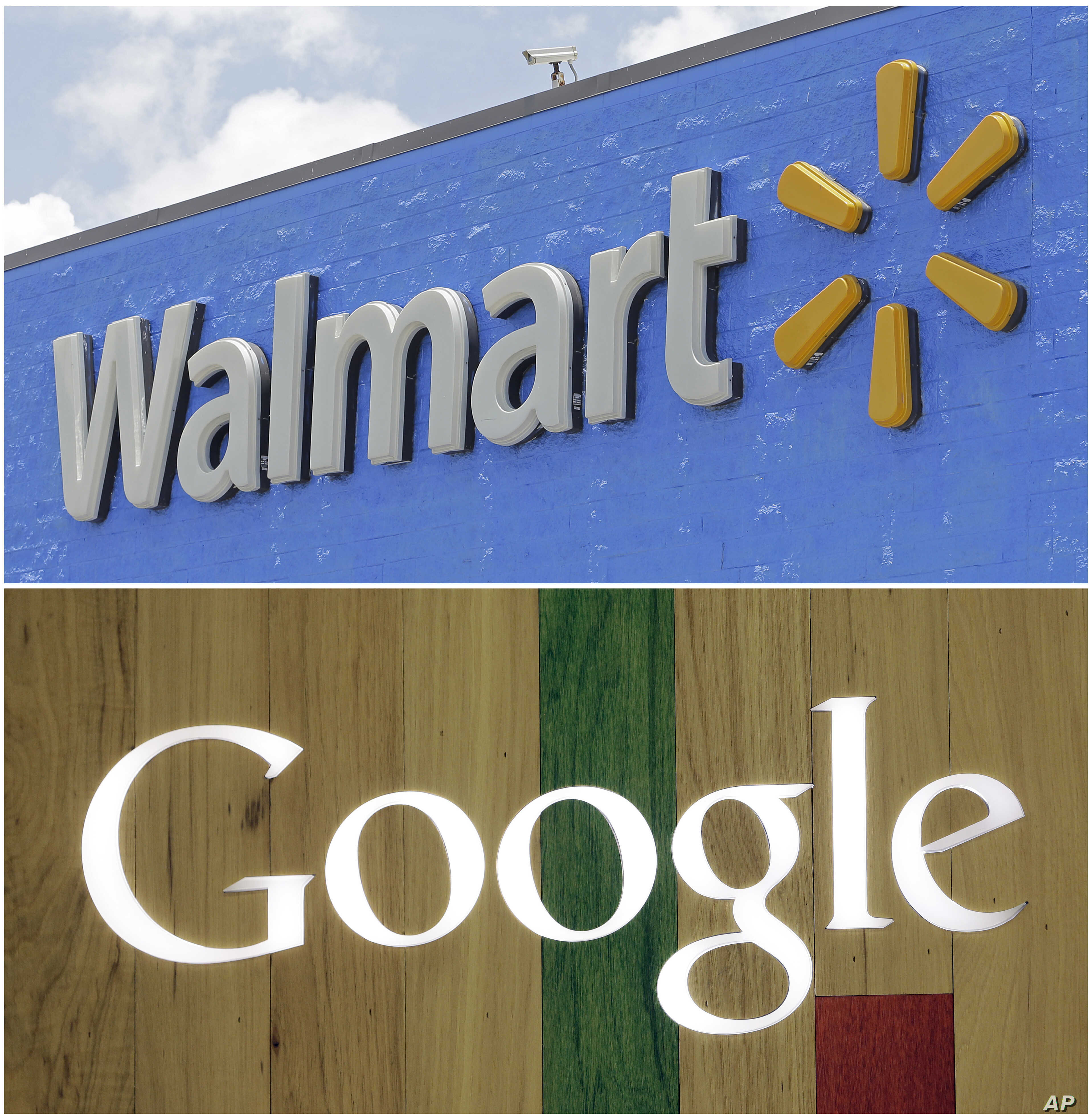 FILE- A combo of photos shows a Google sign at a store on Aug. 7, 2017, in Hialeah, Fla., bottom, and a Walmart sign on June 1, 2017, in Hialeah Gardens, Fla.