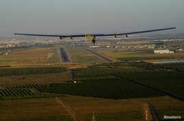 Solar Impulse 2, the solar powered airplane, piloted by Swiss pioneer Bertrand Piccard prepares to land in Seville, Spain, after finishing a 70 hours flight over the Atlantic ocean, June 23, 2016.