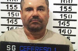 "FILE - Mexico's most wanted drug lord, Joaquin ""El Chapo"" Guzman, stands for his prison mug shot at the Altiplano maximum security federal prison in Almoloya, Mexico, Jan. 8, 2016."