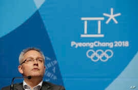 Matthieu Reeb, secretary general of the Court of Arbitration for Sport, speaks during a press conference about Russian athletes who are challenging the decisions taken by the Disciplinary Commission of the International Olympic Committee (IOC DC) ahe