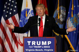 Presumptive Republican presidential nominee Donald Trump delivers a speech in Virginia Beach, Virginia, July 11, 2016.
