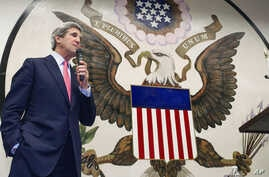 """U.S. Secretary of State John Kerry delivers a speech to U.S. foreign service workers at the U.S. Embassy in Tokyo during a """"Meet & Greet"""" gathering, Apr. 15, 2013."""