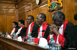Kenya's Supreme Court judges preside before delivering a detailed ruling laying out their reasons for annulling last month's presidential election in Kenya's Supreme Court in Nairobi, Kenya, Sept. 20, 2017.