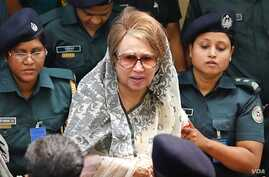 Former Prime Minister Khaleda Zia, chairperson of Bangladesh's largest opposition party of BNP, is being taken to a hospital in Dhaka from her jail for certain medical tests, Apr. 7, 2018.