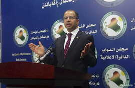 Speaker of the Iraqi Parliament Salim al-Jabouri speaks during a news conference at the parliament building, in Baghdad, April 14, 2016.