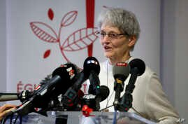 Nun Bernadette Moriau attends a press conference in Beauvais, northern France, Feb.13, 2018.