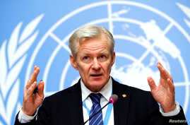 United Nations Syria envoy's Special Adviser Jan Egeland attends a briefing after the meeting of the humanitarian task force on Syria in Geneva, Switzerland Feb. 1, 2018.