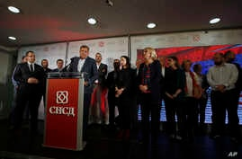 Milorad Dodik, president of the Republic of Srpska, speaks during a news conference after claiming victory in the Bosnian town of Banja Luka, 240 kilometers northwest of Sarajevo, Sunday, Oct. 7, 2018. Dodik has declared victory in the race to fill t