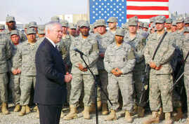 Secretary Gates speaks to US troops at Forward Operating Base Warrior, 11 Dec 2009