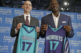 FILE - NBA Commissioner Adam Silver, left, and Charlotte Hornets owner Michael Jordan pose during a news conference to announce Charlotte, N.C., as the site of the 2017 NBA All-Star basketball game, June 23, 2015. The NBA now says it will move the ga
