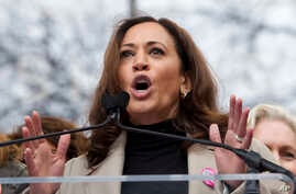 FILE - Sen. Kamala Harris, D-Calif., speaks during the Women's March on Washington, Jan. 21, 2017.