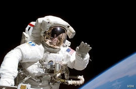 Astronaut floating in space with Earth in background