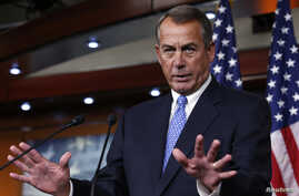 U.S. House Speaker John Boehner (R-OH) speaks at a news conference on Capitol Hill in Washington, D.C., Jan. 16, 2014.