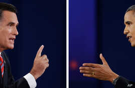 Republican presidential candidate Mitt Romney and US President Barak Obama face eachother in 3rd debate, Oct 22, 2012.