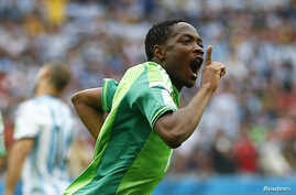 Nigeria's Ahmed Musa celebrates after scoring his team's second goal against Argentina during their 2014 World Cup Group F soccer match at the Beira Rio stadium in Porto Alegre June 25, 2014.
