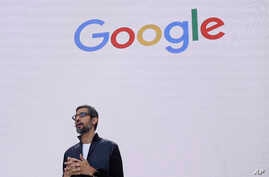 FILE - In this file photo dated May 17, 2017, Google CEO Sundar Pichai delivers the keynote address for the Google I/O conference in Mountain View, California.France Google