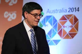 U.S. Secretary of the Treasury Jack Lew arrives at a press conference where he delivered a closing statement to the media at the G-20 Finance Ministers and Central Bank Governors meeting in Sydney, Australia, Sunday, Feb. 23, 2014.