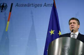 German Foreign Minister Sigmar Gabriel addresses the media during a statement at the Foreign Ministry in Berlin, Germany, March 8, 2017.