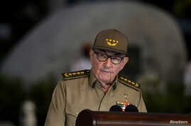 Cuban First Secretary of Communist Party Raul Castro Ruz gives a speech, Jan. 1, 2019, during the celebration of 60th Anniversary of Cuban Revolution at Santa Ifigenia Cemetery in Santiago de Cuba.