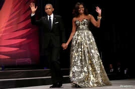 U.S. President Barack Obama and first lady Michelle Obama arrive at the Congressional Black Caucus Foundation's 46th annual Legislative Conference Phoenix Awards Dinner in Washington, Sept. 17, 2016.