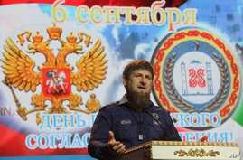 Chechen regional leader Ramzan Kadyrov speaks at a meeting marking the Day of Civil Concord and Unity in Chechnya's provincial capital Grozny, Russia, Sept. 6, 2016.