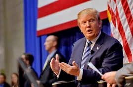 Republican presidential candidate Donald Trump speaks during a town hall meeting at the Ben Johnson Arena on the Wofford College campus,  Nov. 20, 2015, in Spartanburg,  S.C.