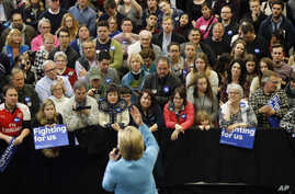 Democratic presidential candidate Hillary Clinton speaks during a campaign stop, at Manchester Community College in Manchester, New Hampshire, Feb. 8, 2016.