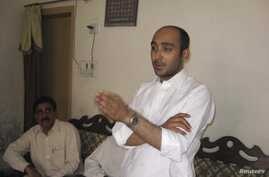 Ali Haider Gilani, son of former Pakistani Prime Minister Yusuf Raza Gilani, who is contesting in the upcoming general election, speaks during a campaign meeting at a house on the outskirts of Multan, May 9, 2013, before his abduction by unidentified...