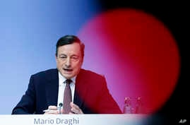 President of European Central Bank, ECB, Mario Draghi speaks during a news conference after a meeting of the governing council in Frankfurt, Germany, April 21, 2016.