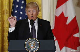 U.S. President Donald Trump addresses a joint news conference with Canadian Prime Minister Justin Trudeau at the White House in Washington, Feb. 13, 2017.