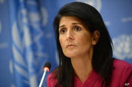 "U.S. Ambassador Nikki Haley said the Trump administration wants ""proof"" from Sudan's government that it is making progress toward peace and protecting civilians in its vast and troubled Darfur region. Haley addressed the U.N. Security Council, April"