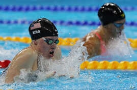 United States' Lilly King, left, and Russia's Yulia Efimova compete in the final of the women's 100-meter breaststroke during the swimming competitions at the 2016 Summer Olympics in Rio de Janeiro, Brazil, Monday, Aug. 8, 2016.