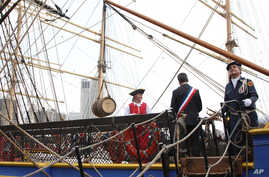 """A special barrel of Hennessy, which made the trip from France with the Hermione, is seen hanging aboard the Hermione at the """"Hennessy 250 Celebrates the Hermione's arrival in New York Harbor"""" at Pier 15 in New York, July 1, 2015."""