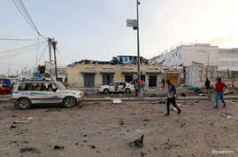 A general view shows the scene of an explosion in Mogadishu, Somalia, Nov. 9, 2018.