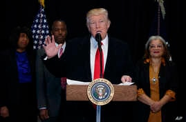 President Donald Trump speaks after touring of the National Museum of African American History and Culture, Feb. 21, 2017, in Washington.