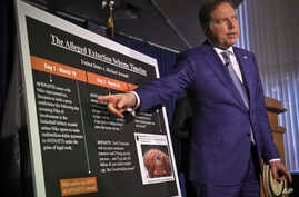 Geoffrey S. Berman, the United States attorney for the Southern District of New York, points to a chart during a press conference, outlining details that lead to extortion charges for attorney Michael Avenatti, on March 25, 2019, in New York.